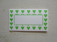 heart bright green place cards