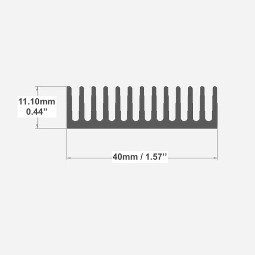 840AS - W:1.57'' H:0.44'' - Heatsink Extrusion