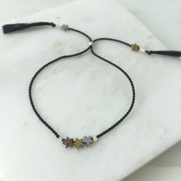 Star Light Star Bright Hematite Tassel Thread Bracelet