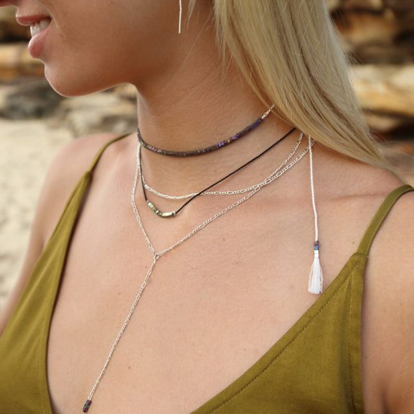 Under Her Spell Agate Thread Choker