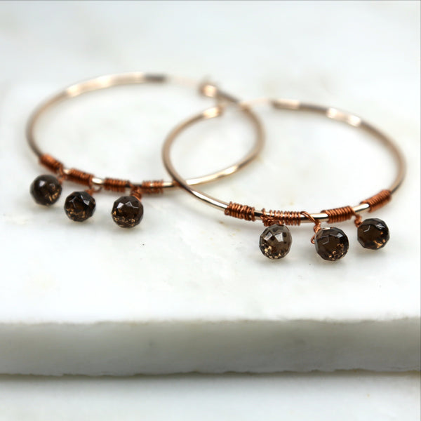 Smoky Quartz Crystal Hoop Earrings