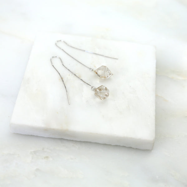 Portal of Light Herkimer Diamond Thread & Bar Earring