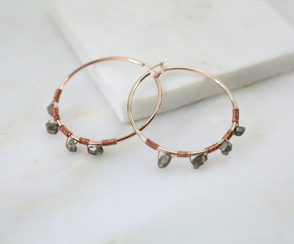 Under Her Spell Pyrite Large Hoop