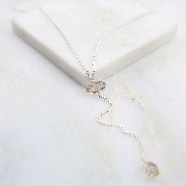 Portal of Light Herkimer Diamond Lariat Necklace