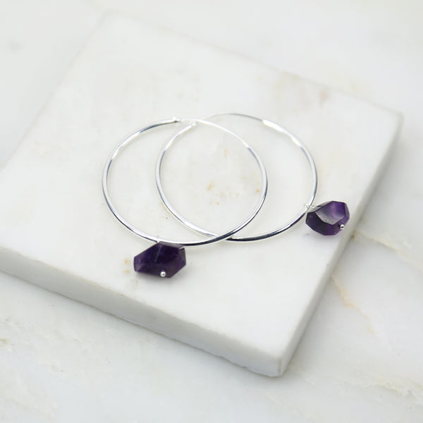 Portal of Light Large Amethyst Hoop