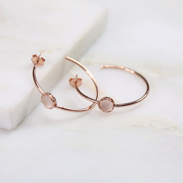 Fine Treasures Rose Quartz Hoop Earring