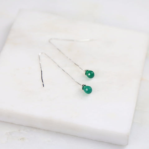 Under Her Spell Green Onyx Thread Earring
