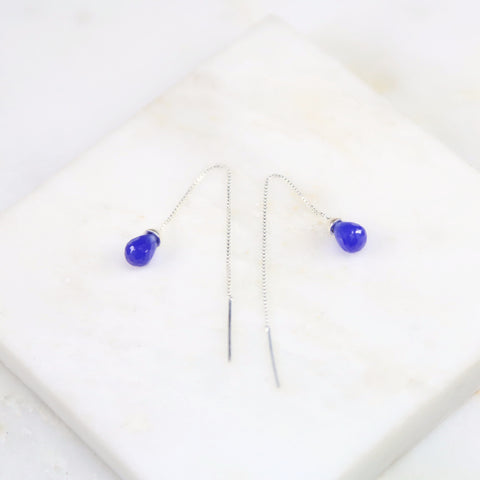Under Her Spell Blue Chalcedony Thread Earring