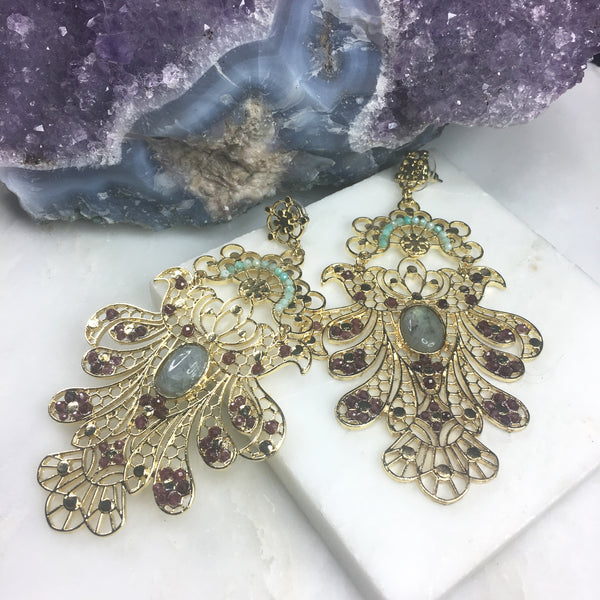 Aphrodite Goddess Gemstone Statement Earring