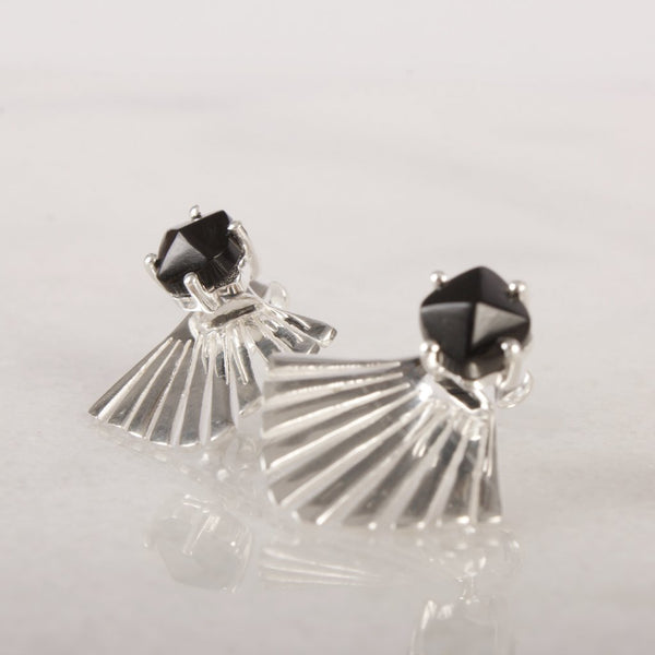 Stardust Black Spinel Fan Stud Earring