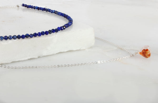 Fine Treasures Lapis Lazuli Teared Necklace or Choker