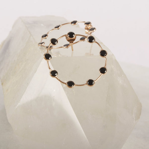 Shooting Love Black Spinel Gemstone Hoop