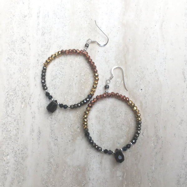 Goddess Pele Gemstone Hoop Earring