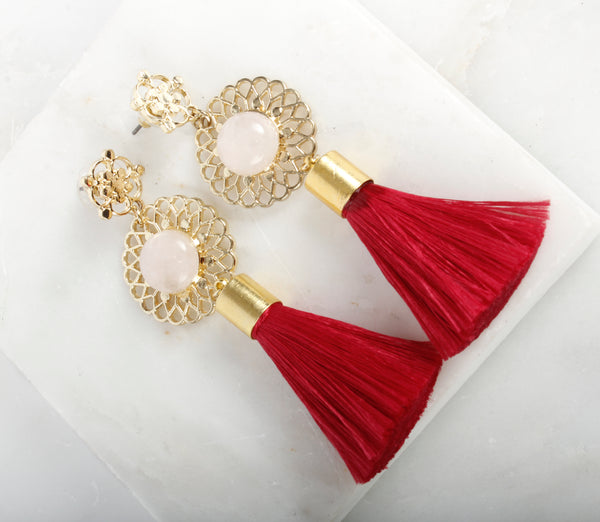 Empress Tassle Rose Quartz Earring