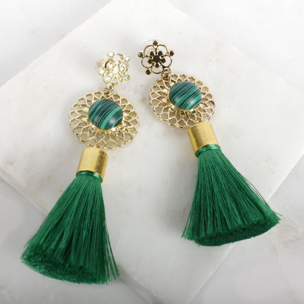 Empress Tassle Malachite  Earring