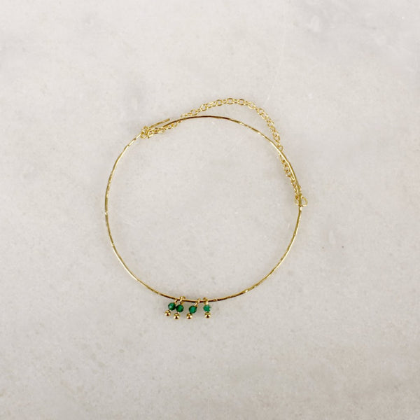 Razzle Dazzle Green Onyx Brass Bangle