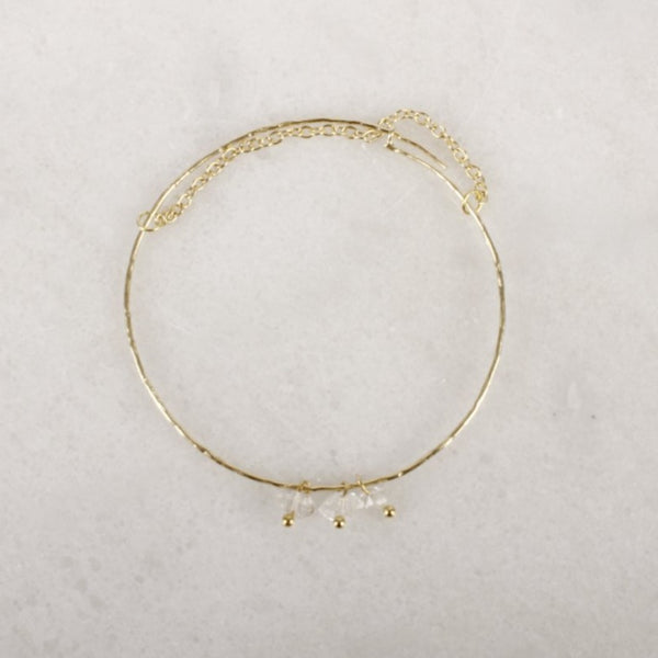 Portal of Light Herkimer Diamond Brass Bangle