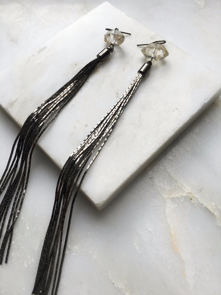 Portal of Light Herkimer Diamond Tassle Chain Earring
