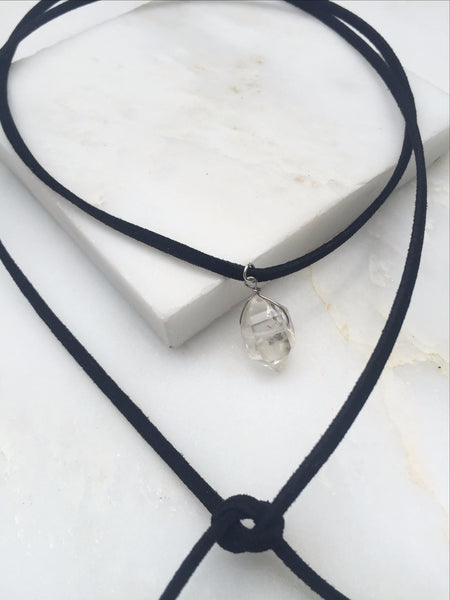 Portal of Light Herkimer Diamond Suede Tie Necklace