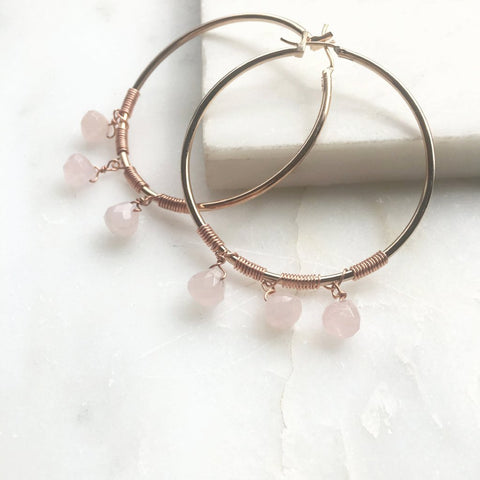 Under Her Spell Rose Quartz Hoop