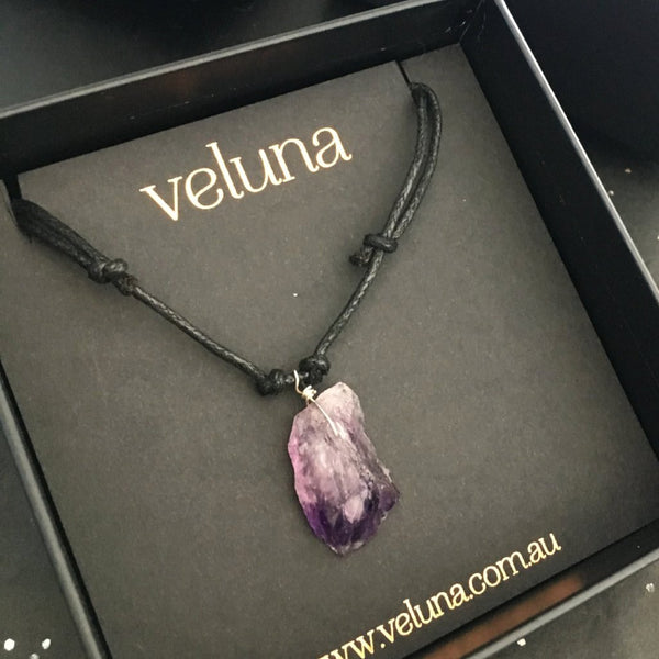 Love from a Stone Amethyst Corded Pendant