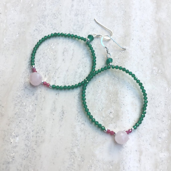 Kuan Yin Goddess Gemstone Hoop Earring