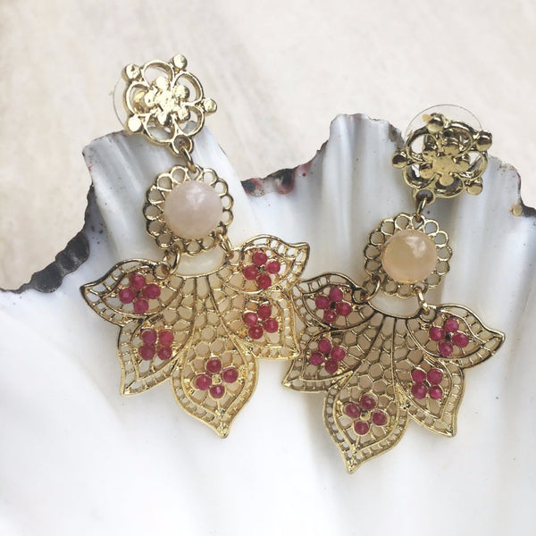 Kuan Yin Goddess Rose Quartz & Ruby Earring