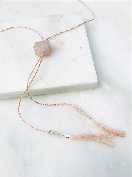 Love from a Stone Rose Quartz Thread Lariat Necklace
