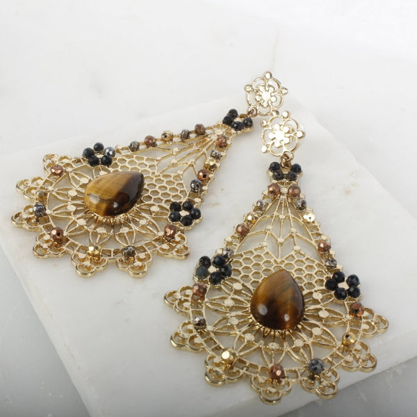 Goddess Pele Gemstone Statement Earring