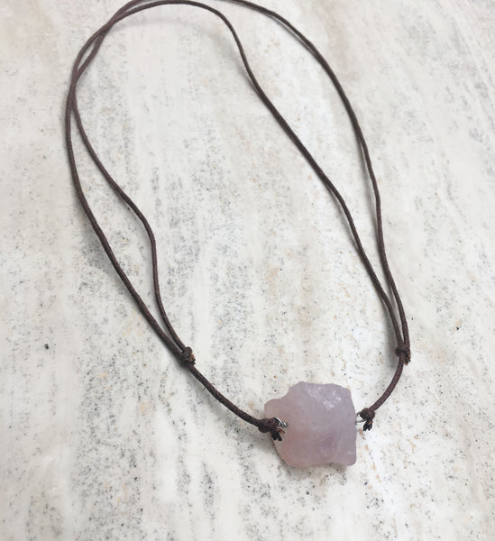 Love from a Stone Rose Quartz Corded Pendant
