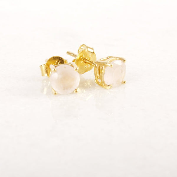 On with the Show Rose Quartz Gold Stud Earring