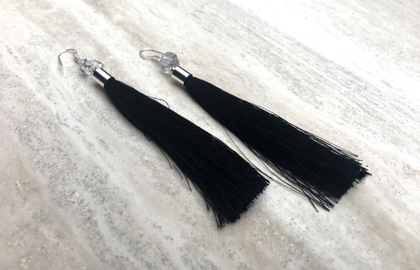 Herkimer Diamond Silk Tassle Earring