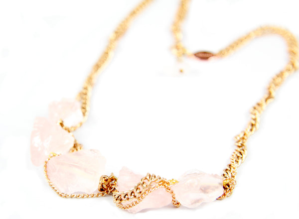 Love from a Stone Rose Quartz Necklace