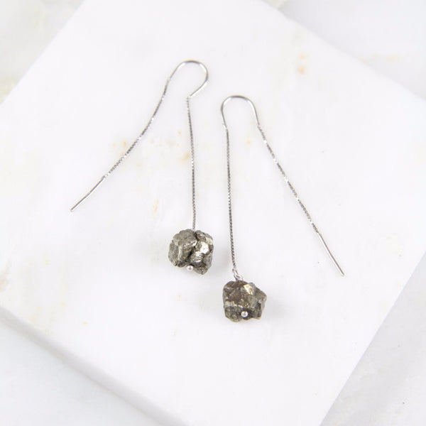 Portal of Light Pyrite Thread & Bar Earring