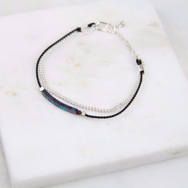 Pure Alchemy Hematite Chain & Thread Bracelet