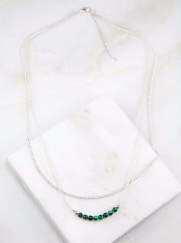 Illuminated Malachite Chain & Thread Necklace