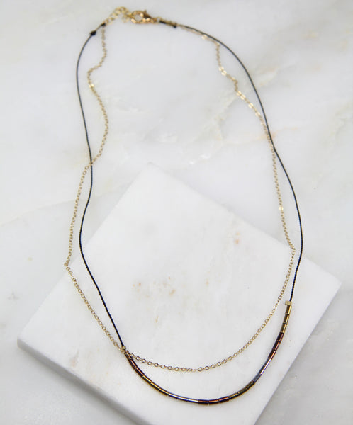 Unified Hematite Chain & Thread Necklace