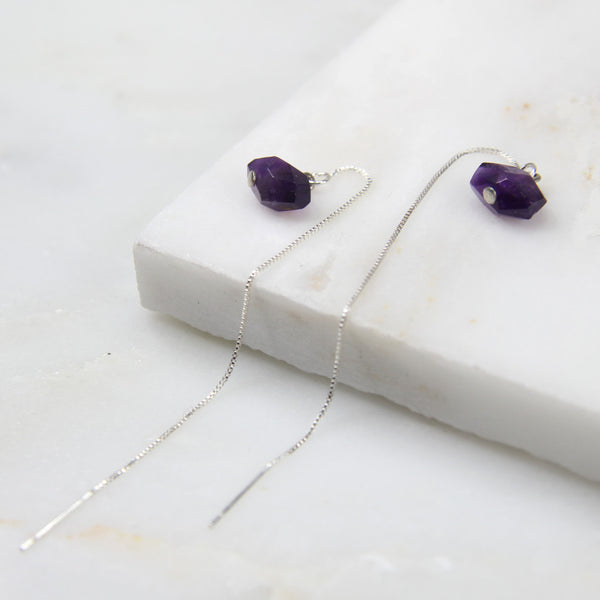 Portal of Light Amethyst Thread Earring