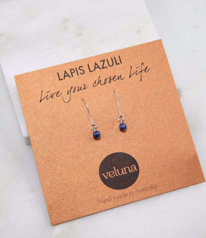 Illuminated Lapis Lazuli Thread Earring