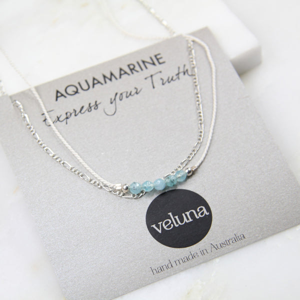 Illuminated Aquamarine Chain & Thread Necklace