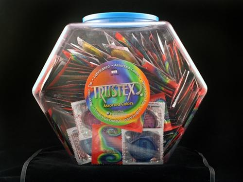 trustex assorted colors lubricated condoms 288 piece fishbowl