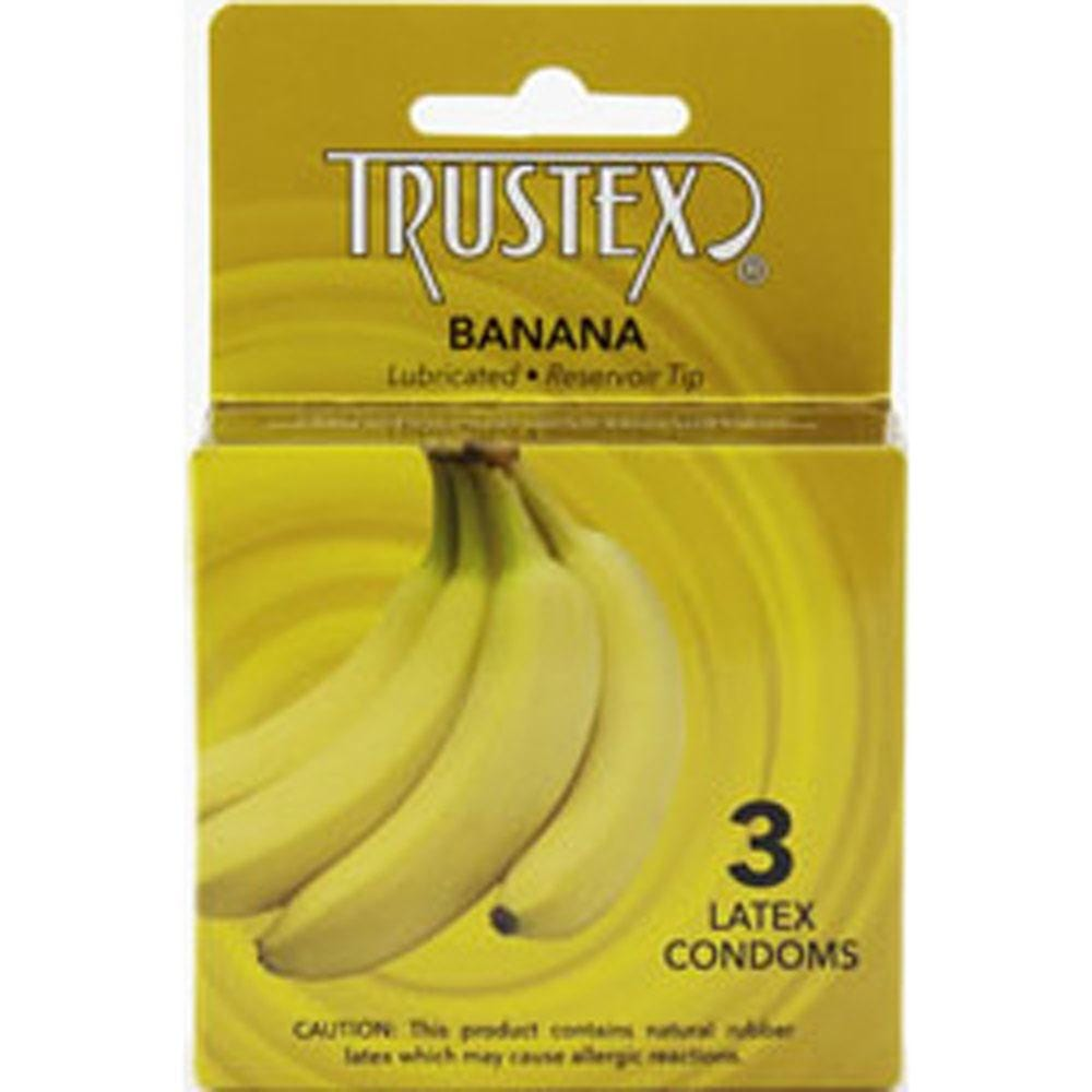 trustex flavored lubricated condoms 3 pack banana