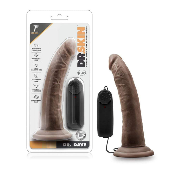 dr skin dr dave 7 inch vibrating cock with suction cup chocolate cheap sex toys