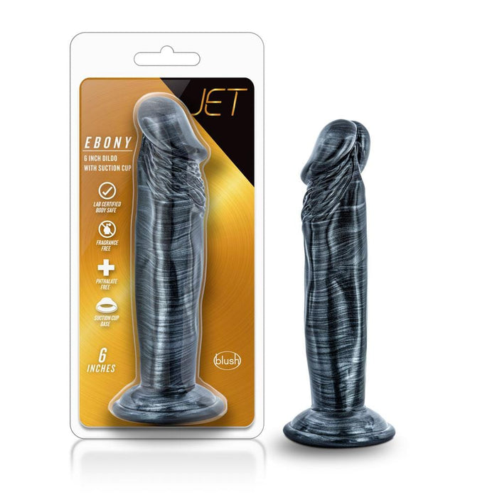 Blush Novelties - jet ebony 6 inch dildo carbon metallic black