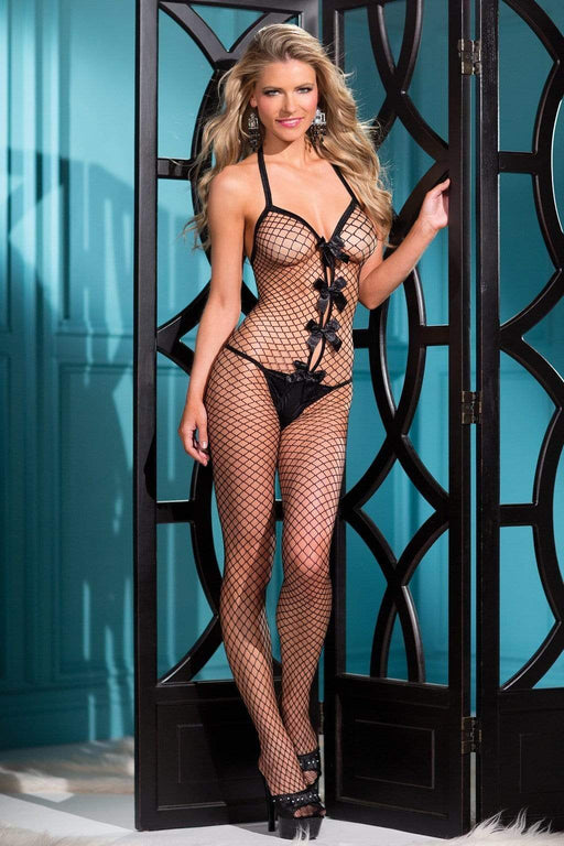 1 piece bow accented fishnet bodystocking with thin shoulder straps one size black