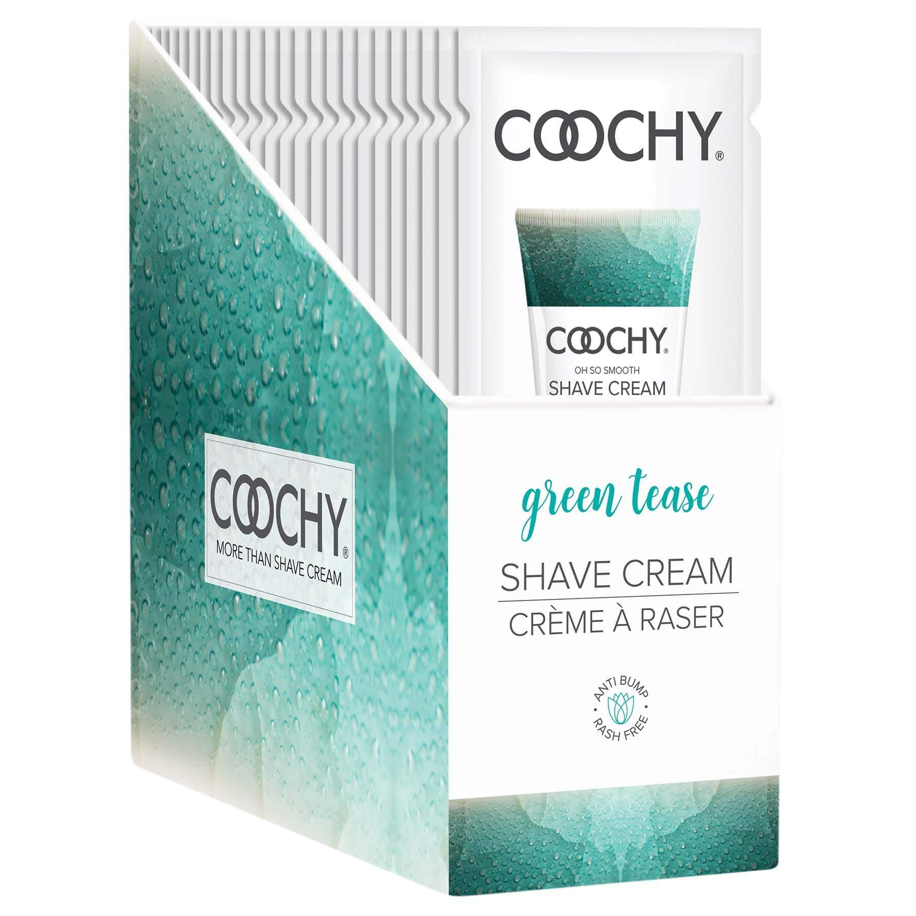 coochy shave cream green tease 15 ml foils 24 count display