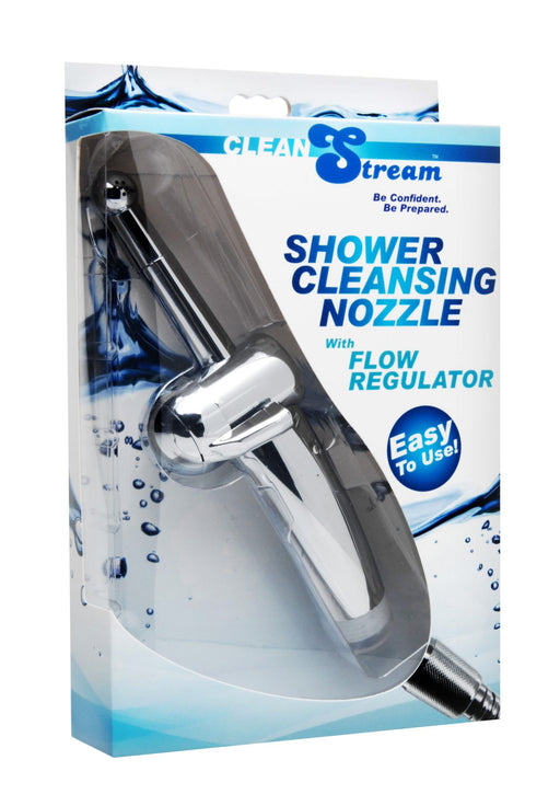 shower cleaning nozzle with flow regulator