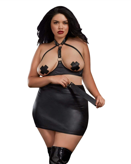 bra skirt and slapper queen size black