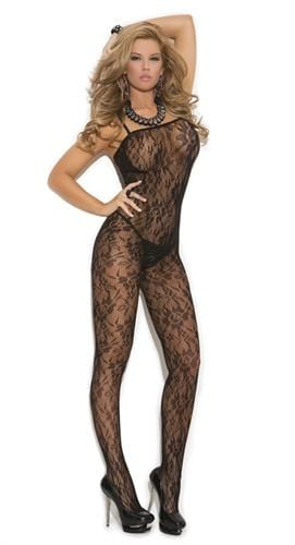 rose lace body stocking one size black