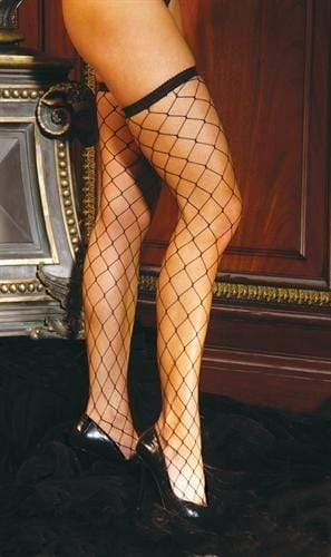 diamond net thigh high one size black